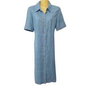 Vtg 90s linen sky blue button up midi dress